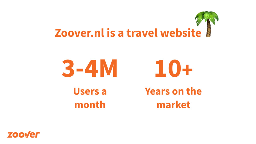 Zoover.nl is a travel website  3-4M Users a 
