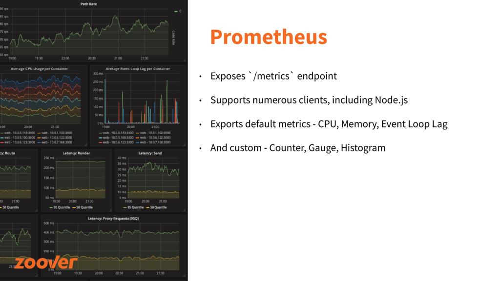 Prometheus • Exposes `/metrics` endpoint • Supp...