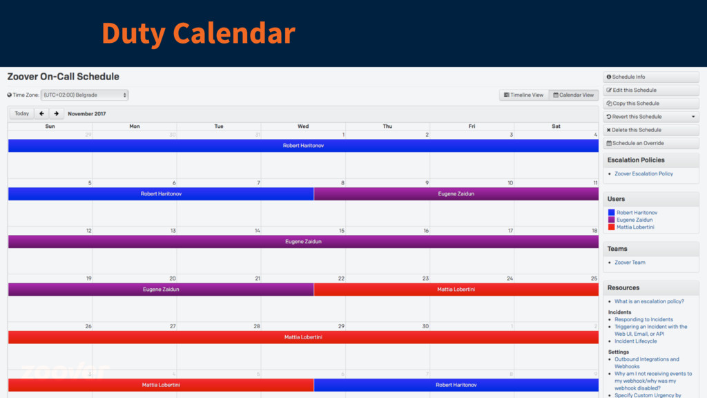 Duty Calendar