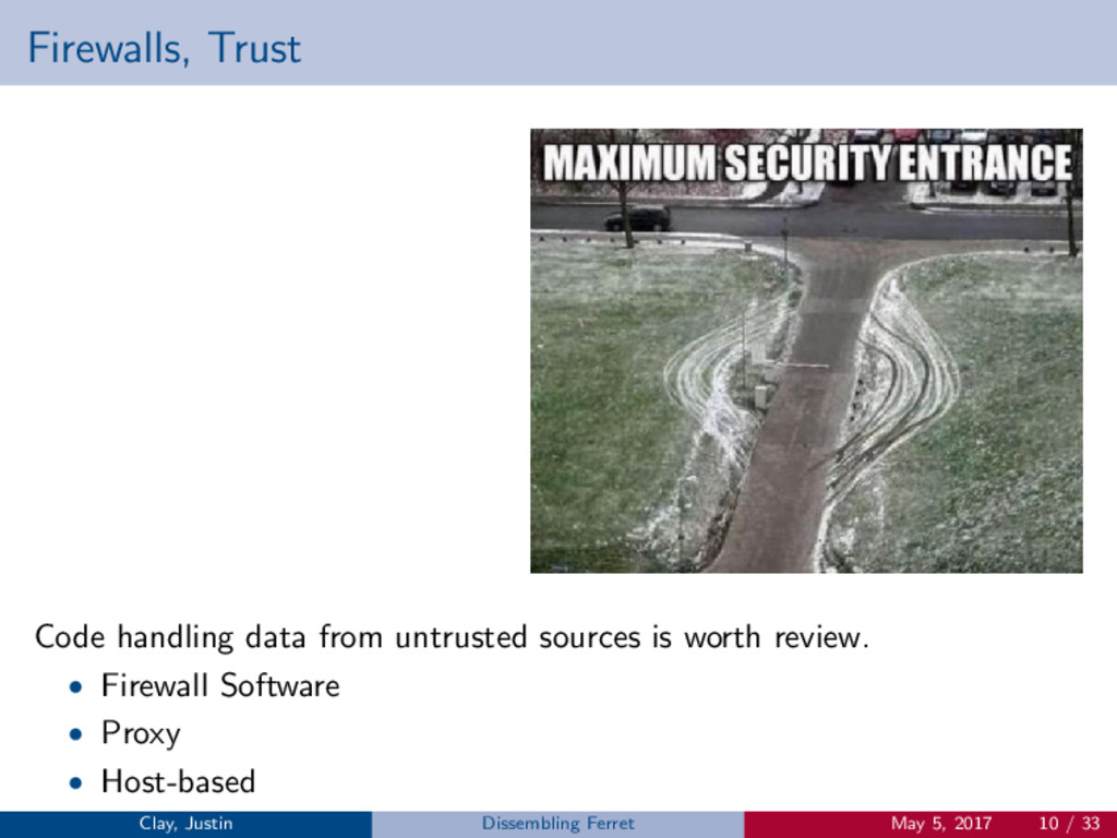 Firewalls, Trust Code handling data from untrus...