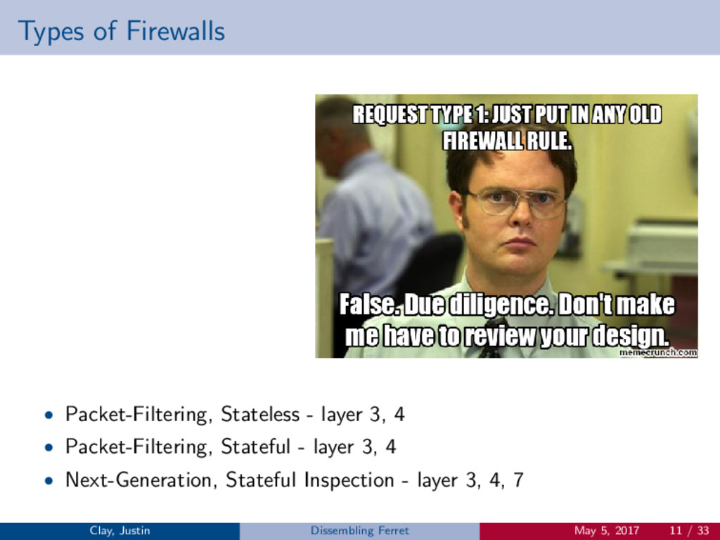 Types of Firewalls • Packet-Filtering, Stateles...