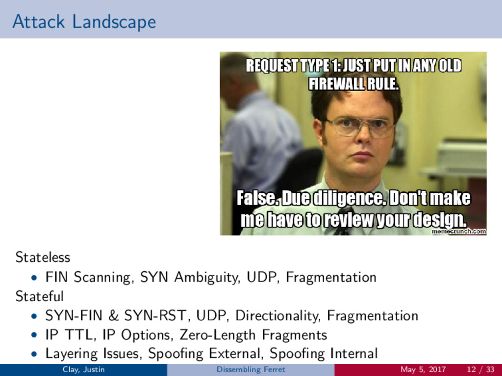Attack Landscape Stateless • FIN Scanning, SYN ...