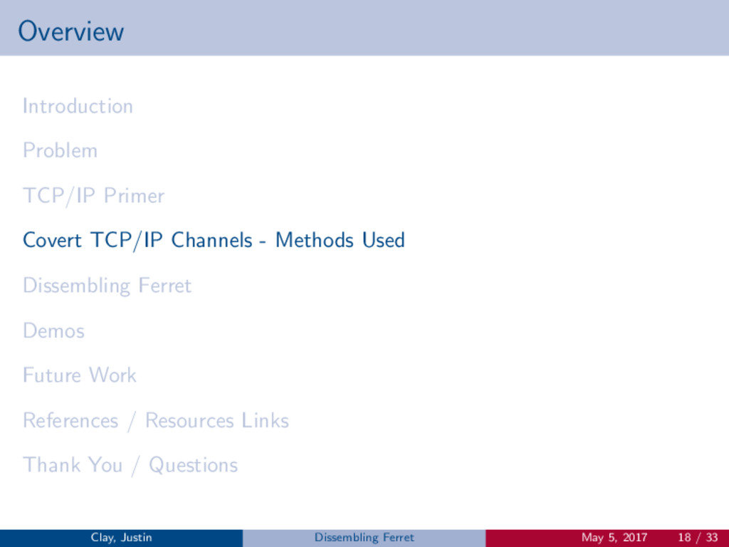 Overview Introduction Problem TCP/IP Primer Cov...
