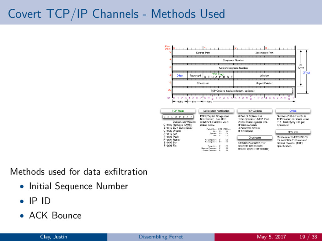 Covert TCP/IP Channels - Methods Used Methods u...