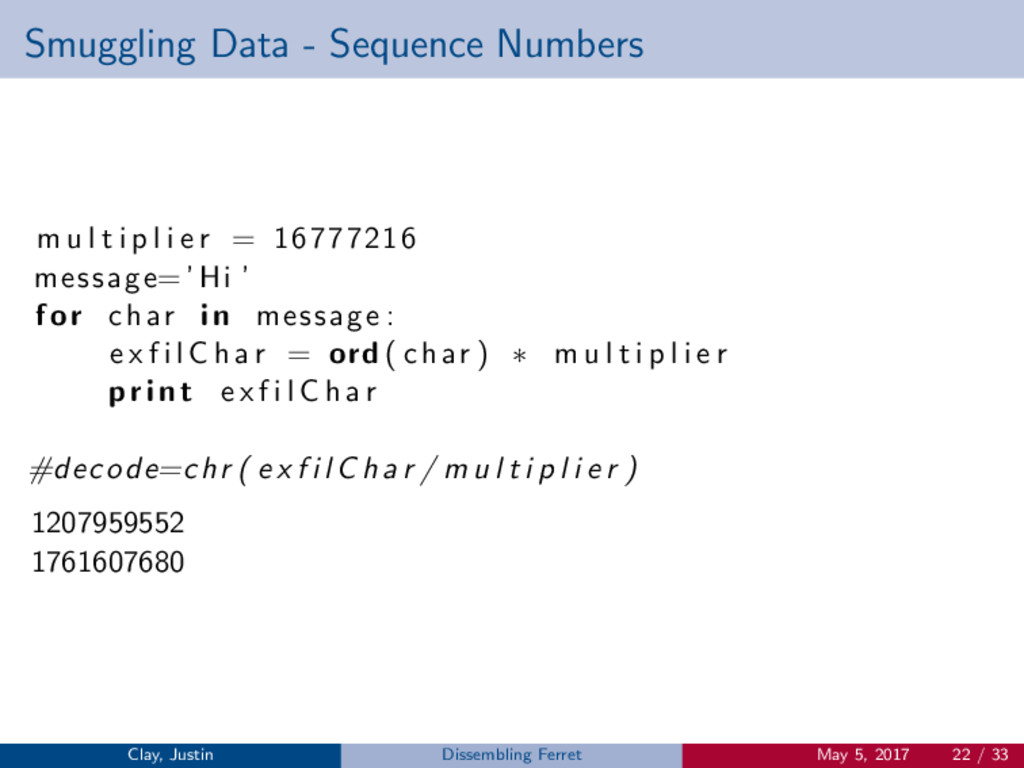 Smuggling Data - Sequence Numbers m u l t i p l...