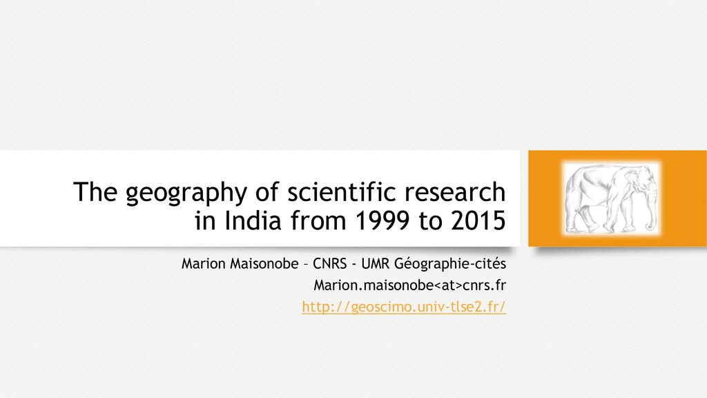 The geography of scientific research in India f...