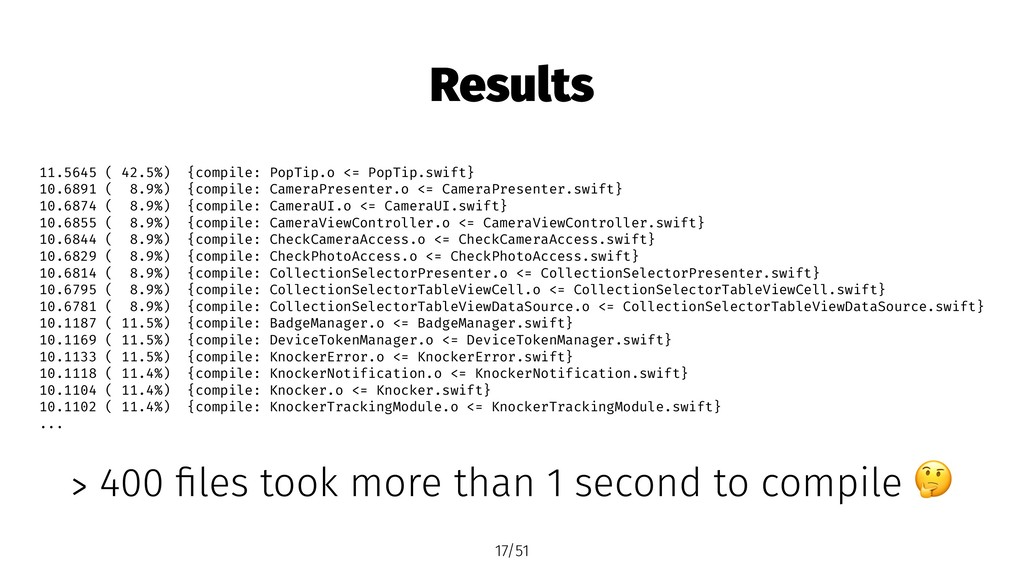 Results 11.5645 ( 42.5%) {compile: PopTip.o <= ...