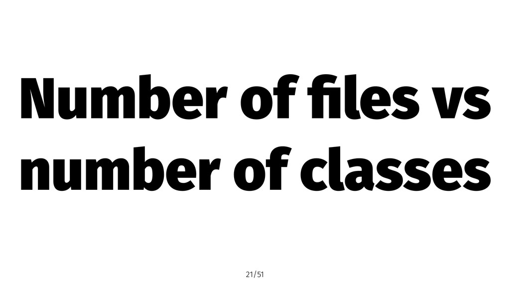Number of files vs number of classes 21/51