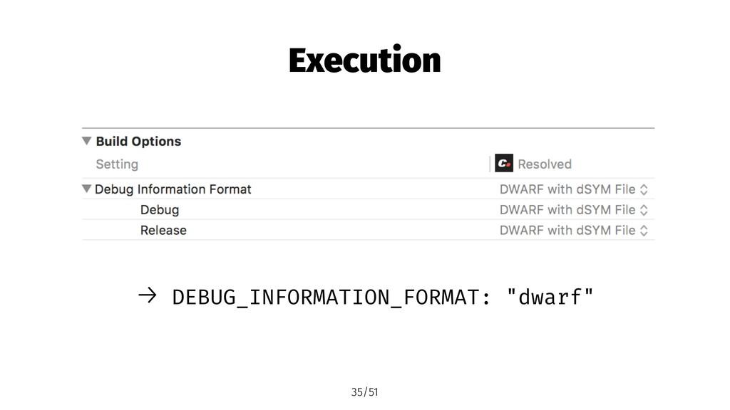 "Execution → DEBUG_INFORMATION_FORMAT: ""dwarf"" 3..."