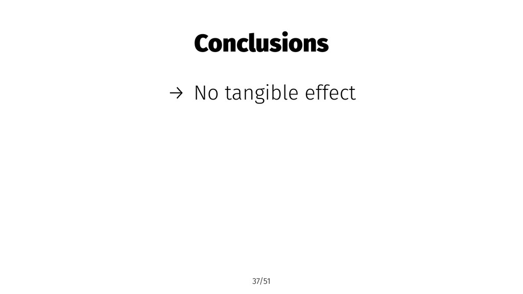 Conclusions → No tangible effect 37/51