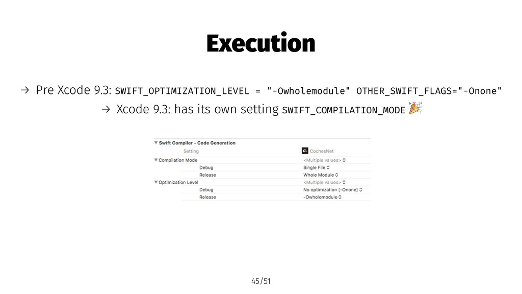 Execution → Pre Xcode 9.3: SWIFT_OPTIMIZATION_L...