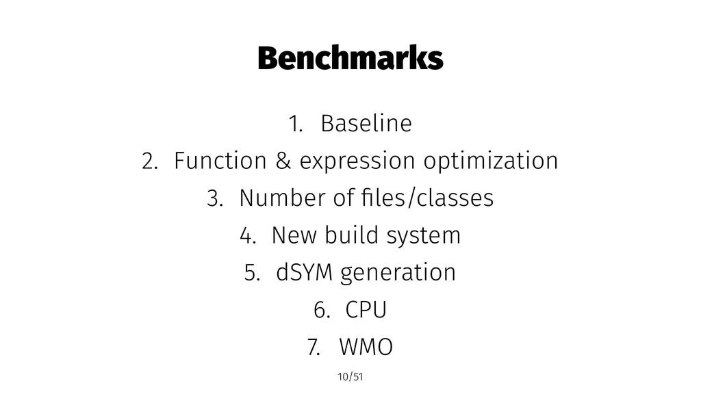 Benchmarks 1. Baseline 2. Function & expression...
