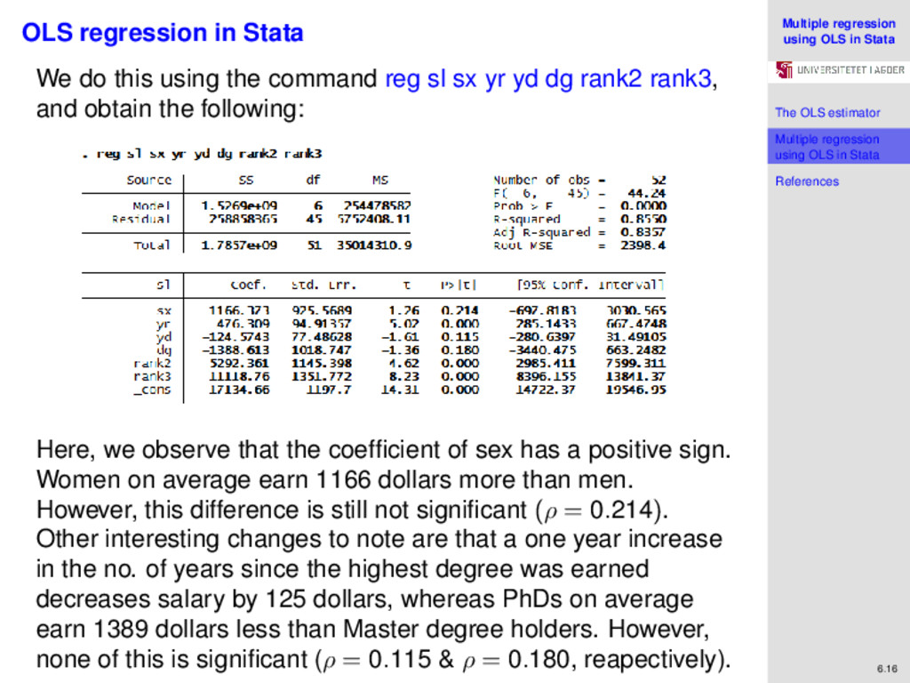 Multiple regression using OLS in Stata The OLS ...