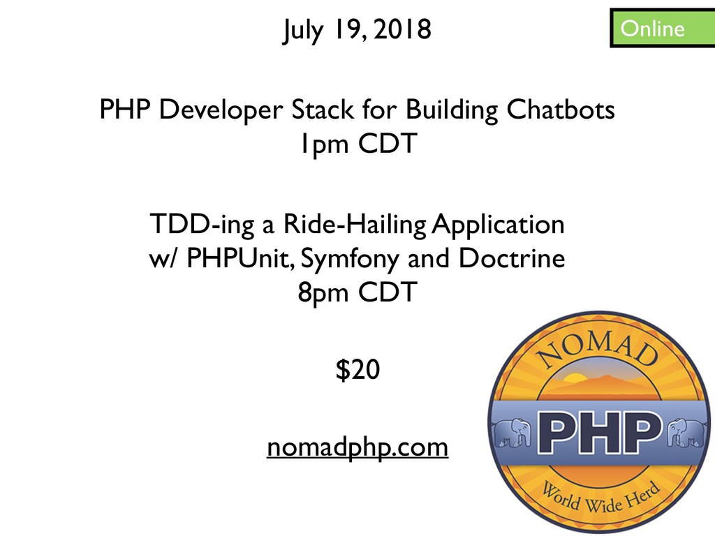 Online July 19, 2018 TDD-ing a Ride-Hailing App...