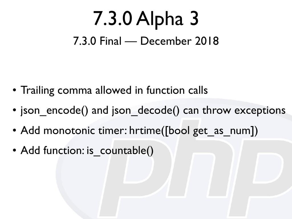 7.3.0 Alpha 3 7.3.0 Final — December 2018 • Tra...