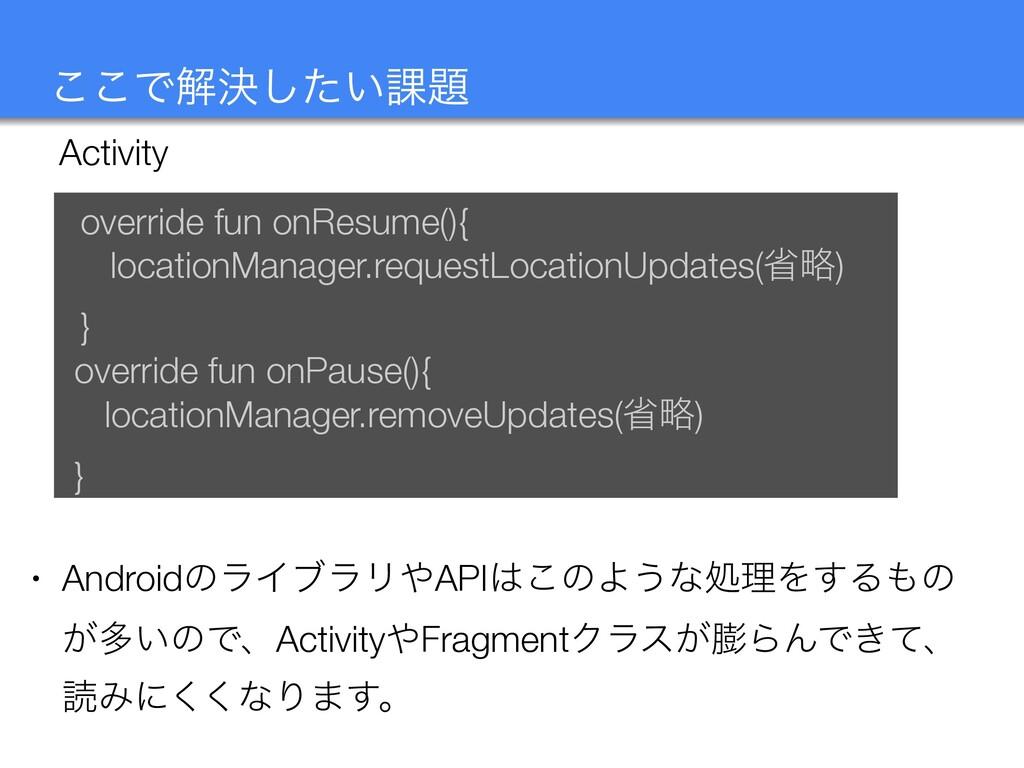 ͜͜Ͱղܾ͍ͨ͠՝ Activity override fun onResume(){ lo...