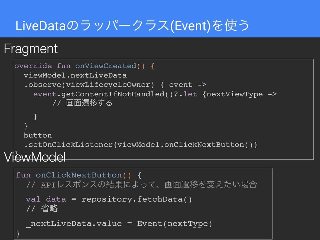 LiveDataͷϥούʔΫϥε(Event)Λ͏ override fun onViewC...