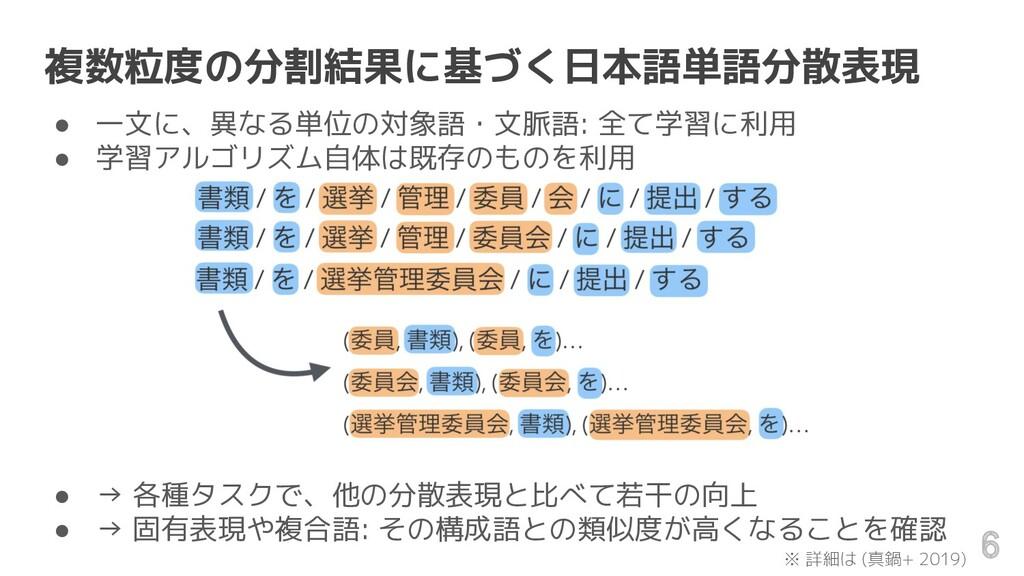 複数粒度の分割結果に基づく日本語単語分散表現 ● 一文に、異なる単位の対象語・文脈語: 全て学...