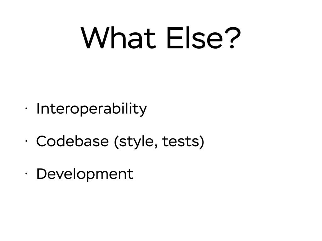 What Else? • Interoperability • Codebase (style...
