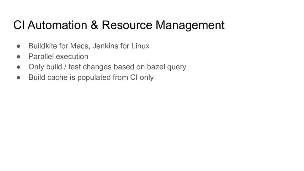 CI Automation & Resource Management ● Buildkite...