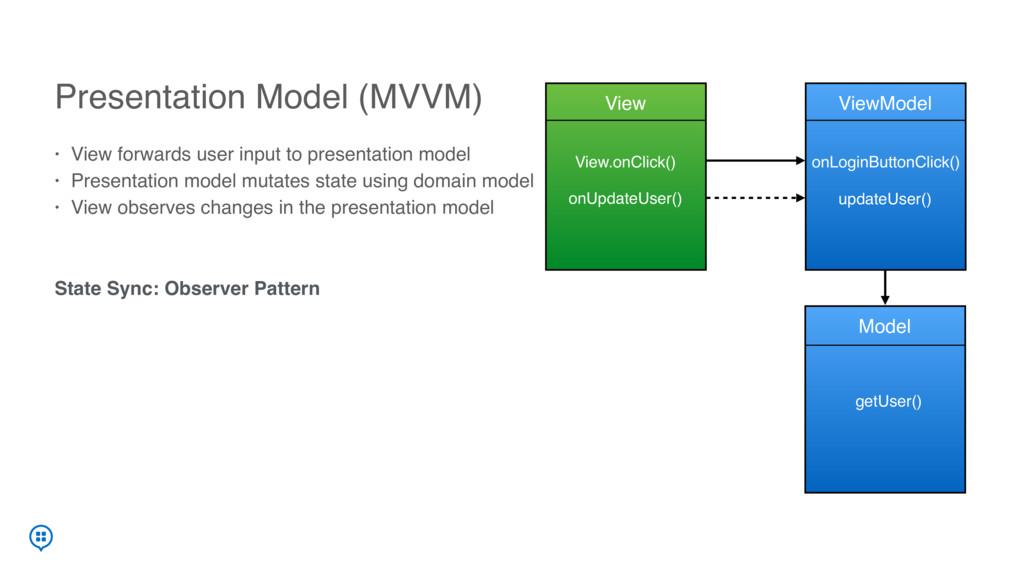 Presentation Model (MVVM) • View forwards user ...