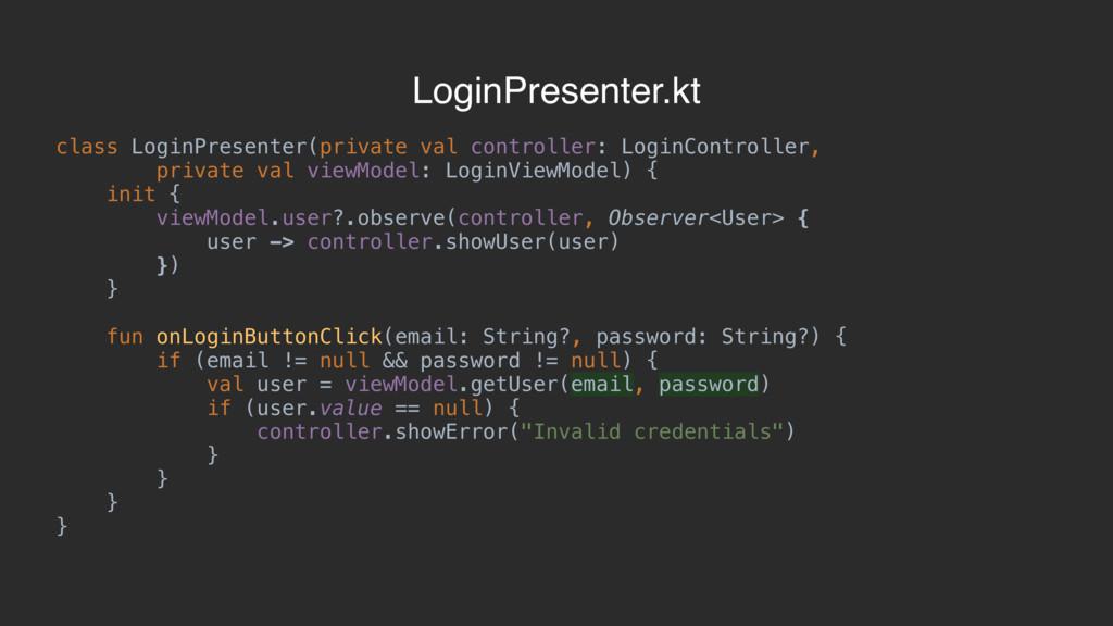 class LoginPresenter(private val controller: Lo...
