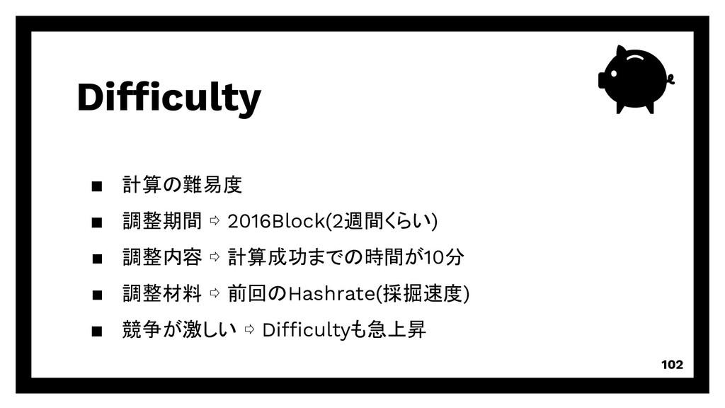 Difficulty 102 ▪ 計算の難易度 ▪ 調整期間 ⇨ 2016Block(2週間く...