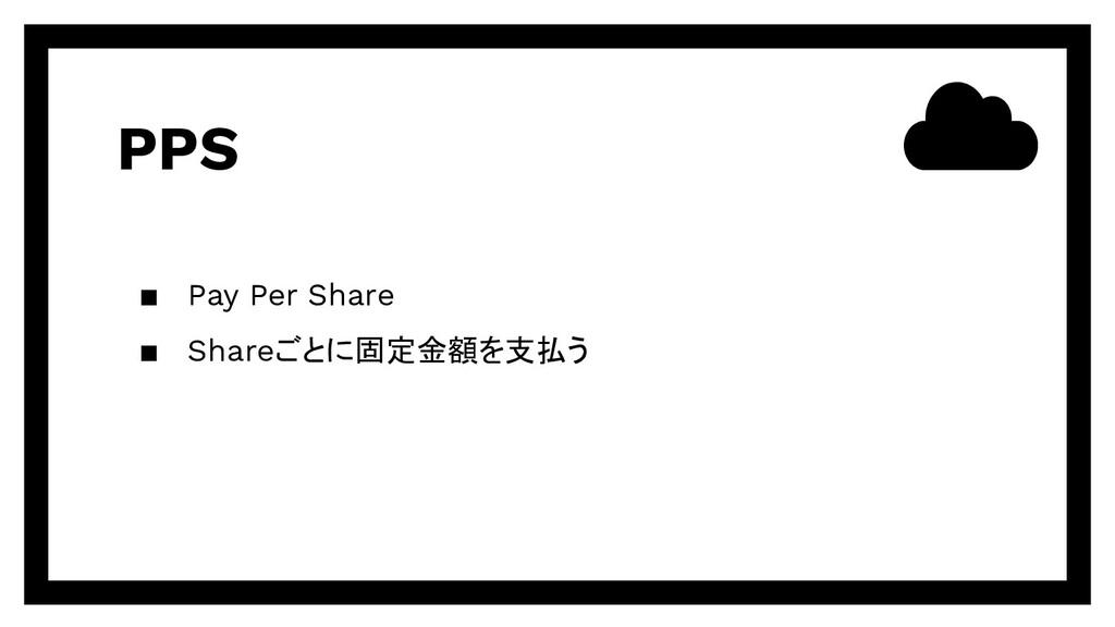 PPS ▪ Pay Per Share ▪ Shareごとに固定金額を支払う