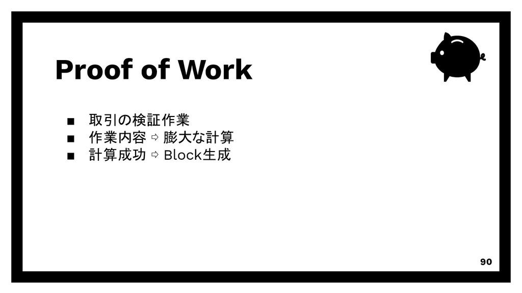 Proof of Work 90 取引の検証作業 作業内容 ⇨ 膨大な計算 計算成功 ⇨ Bl...