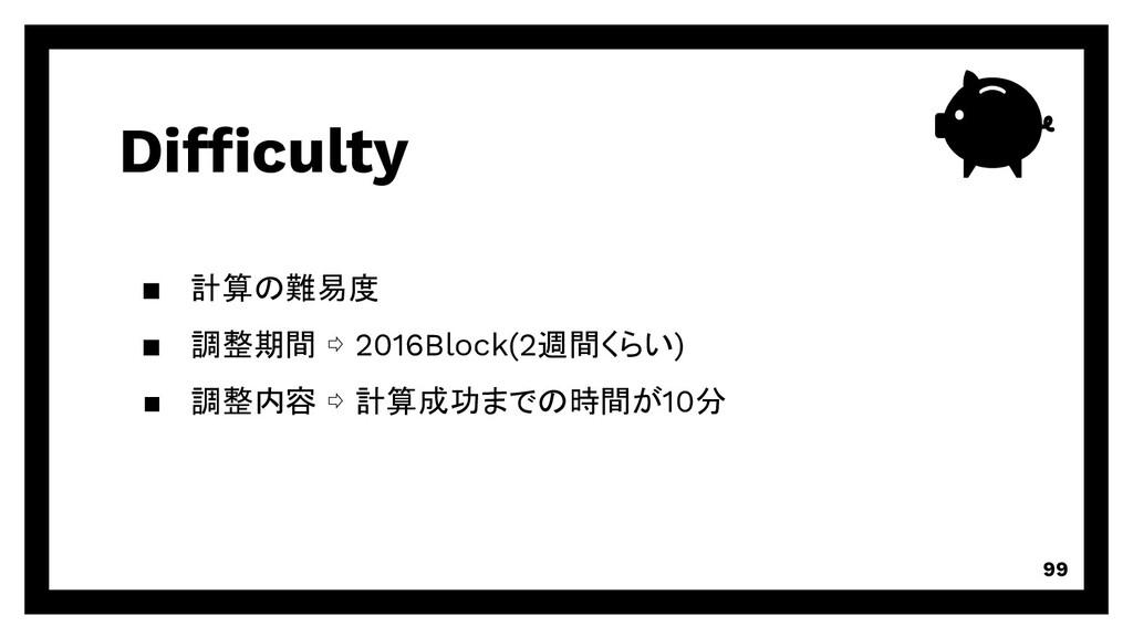 Difficulty 99 ▪ 計算の難易度 ▪ 調整期間 ⇨ 2016Block(2週間くら...