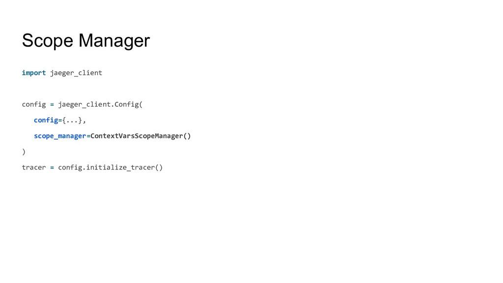 Scope Manager import jaeger_client config = jae...