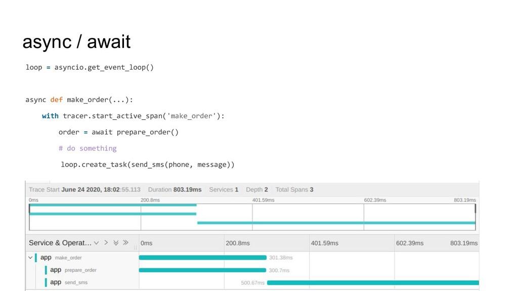 async / await loop = asyncio.get_event_loop() a...