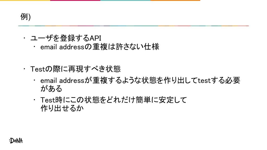 例) • ユーザを登録するAPI • email addressの重複は許さない仕様  ...