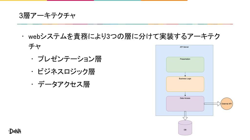3層アーキテクチャ • webシステムを責務により3つの層に分けて実装するアーキテク チャ ...