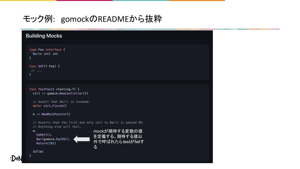 モック例: gomockのREADMEから抜粋 mockが期待する変数の値 を定義する。期待す...