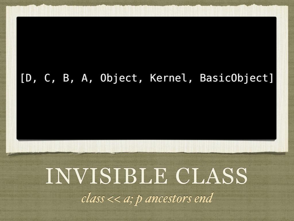 INVISIBLE CLASS class << a; p ancestors end [D,...