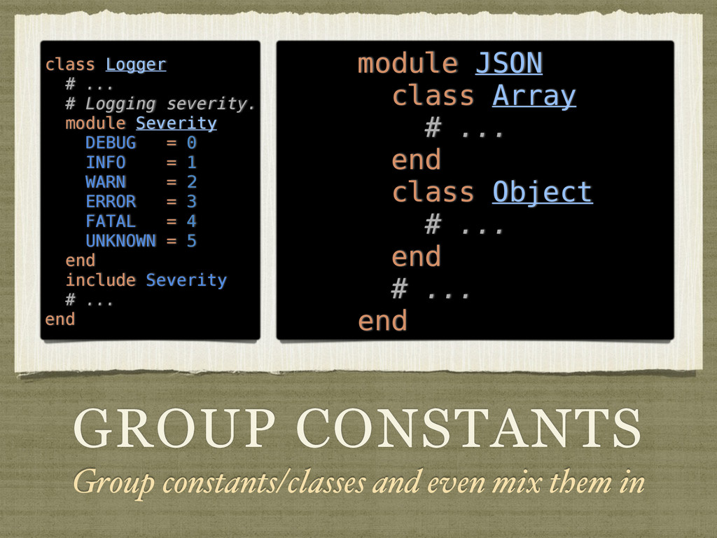 GROUP CONSTANTS Group constants/classes and eve...