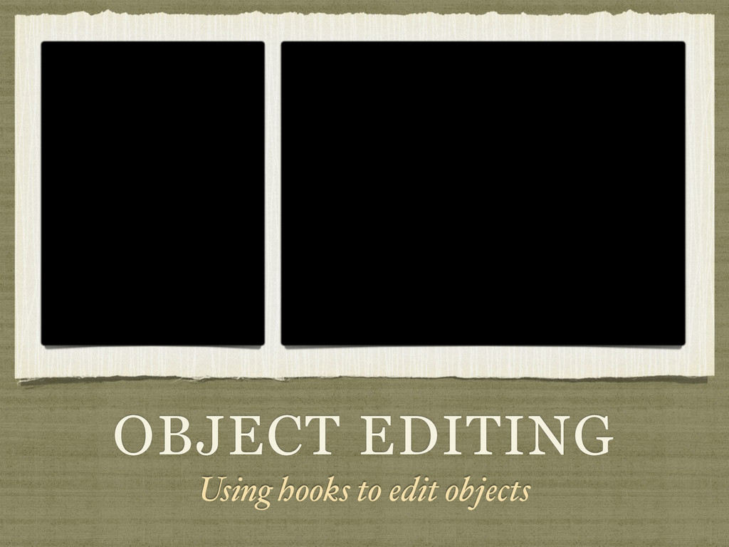 OBJECT EDITING Using hooks to edit objects
