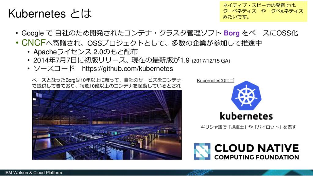 Kubernetes とは • Google で 自社のため開発されたコンテナ・クラスタ管理ソ...
