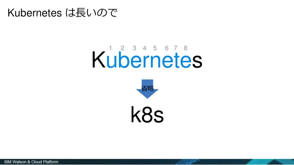 Kubernetes は長いので Kubernetes k8s 1 2 3 4 5 6 7 8...