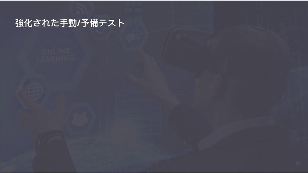 強化された⼿手動/予備テスト 57