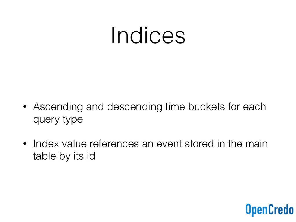 Indices • Ascending and descending time buckets...