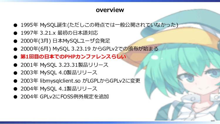 overview 1995年 MySQL誕生(ただしこの時点では一般公開されていなかった) 1...