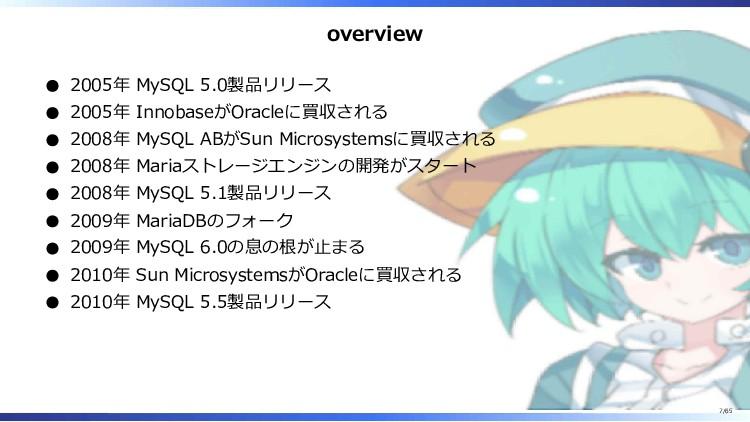 overview 2005年 MySQL 5.0製品リリース 2005年 InnobaseがO...