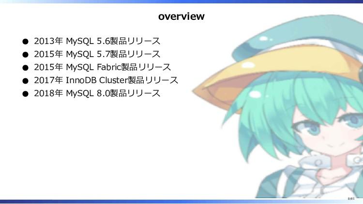 overview 2013年 MySQL 5.6製品リリース 2015年 MySQL 5.7製...