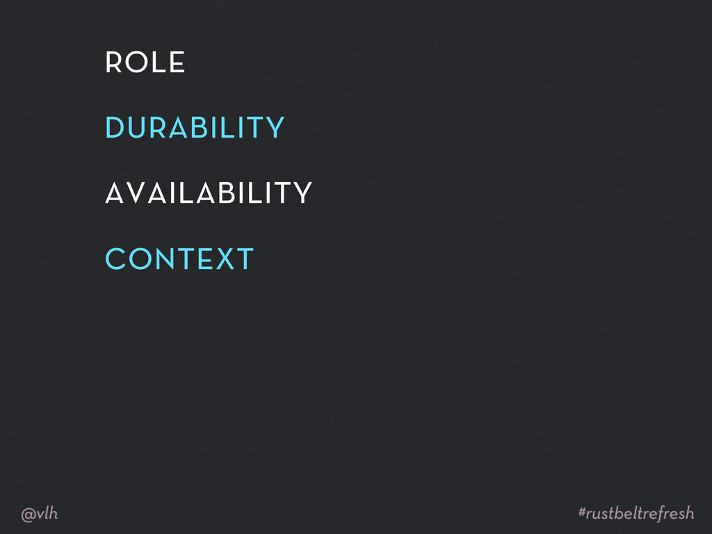 role durability availability context