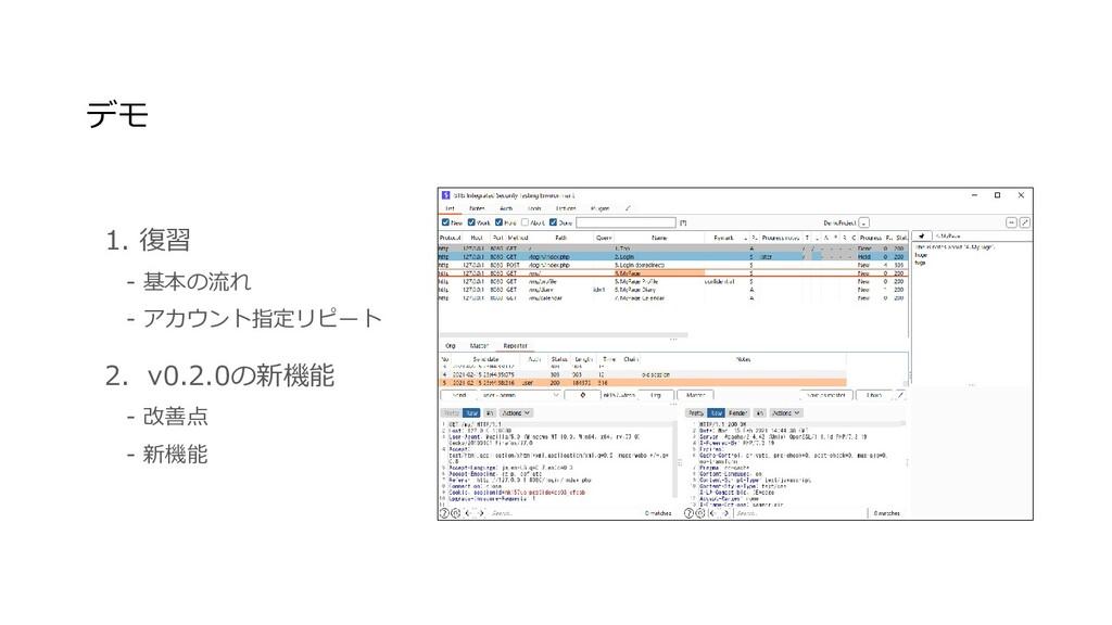 1. 復習  - 基本の流れ  - アカウント指定リピート 2. v0.2.0の新機能  - ...