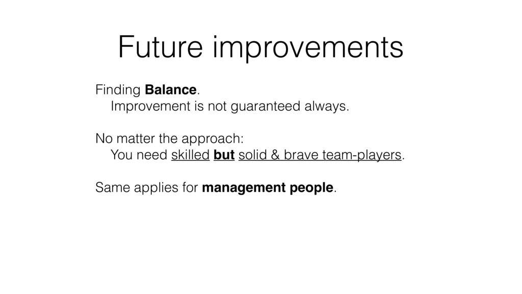 Future improvements Finding Balance.  Improvem...