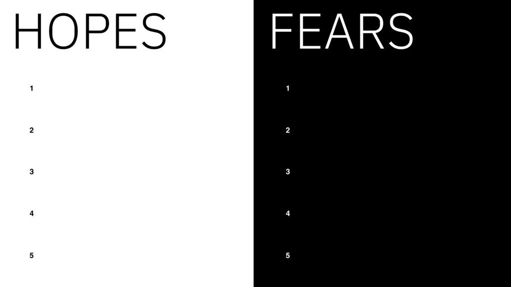HOPES 1 2 3 4 5 FEARS 1 2 3 4 5